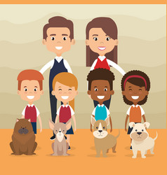 family members with pet characters vector image
