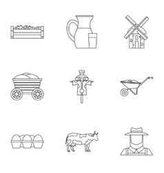 Farm icons set outline style vector image