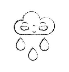 figure kawaii nice happy cloud raining vector image