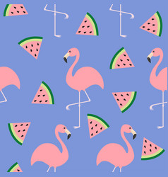 flamingo set seamless pattern flat design exotic vector image