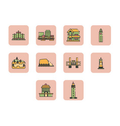 Flat color world travel icon set vector