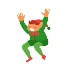flat elf boy dancing or jumping isolated vector image
