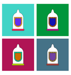 Flat icon design collection condom silhouette vector
