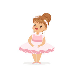 Flat of cheerful little girl in pink vector