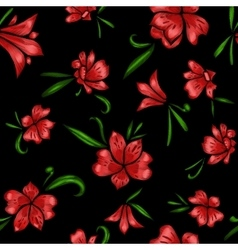 Floral seamless pattern The effect of embroidery vector image