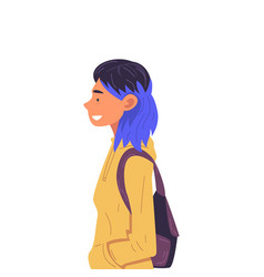 Girl with dyed hair with backpack side view vector