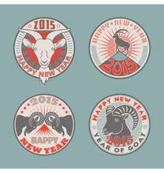 Goat badges color vector