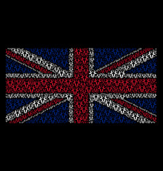 Great britain flag mosaic of cow head items vector