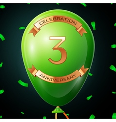 Green balloon with golden inscription three years vector image