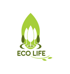 Green trees icon for eco life gardening vector