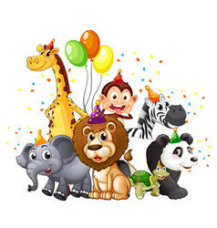 group wild animals with party theme isolated vector image
