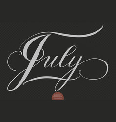 hand drawn lettering july elegant vector image