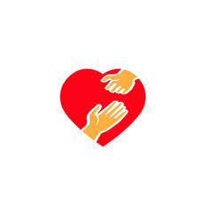 hands in a heart design help hand mother and vector image
