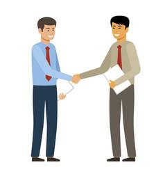 Handshake two businessmen want to shake hands vector