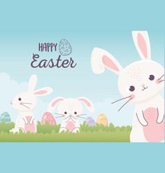happy easter cute rabbits with decorative eggs in vector image