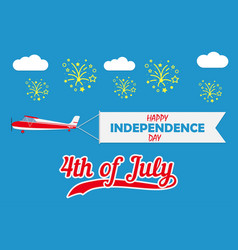 happy independence day card with flying plane vector image