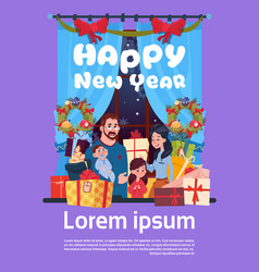 happy new year greeting card with image of young vector image