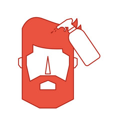 Head man with spray bottle barber product vector