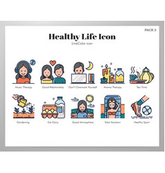 Healthy life icons linecolor pack vector