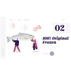 Healthy refrigerated food website landing page vector