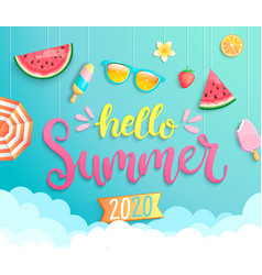 hello summer 2020 banner wih hot season elements vector image