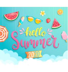 hello summer 2020 banner wih hot season elements vector image