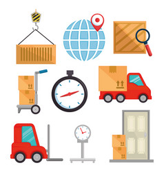 import free shipping set icons vector image