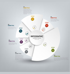 Info graphic with abstract white rounded segments vector