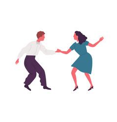 Joyful man and woman performing lindy hop dance vector