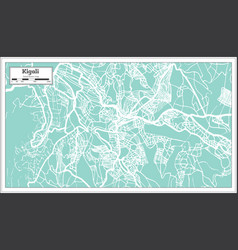 Kigali rwanda city map in retro style outline map vector