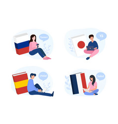 learning a new language with people and books vector image