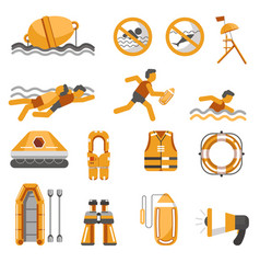 Lifeguard equipment items and swimming safety vector