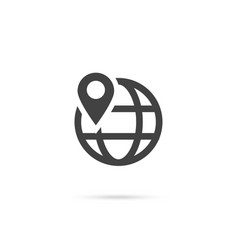 location on globe pin on globe simple black icon vector image