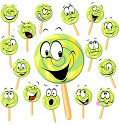 lollipop cartoon with many expressions isolated on vector image