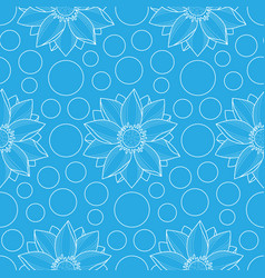 Lotus and circles blue seamless pattern vector