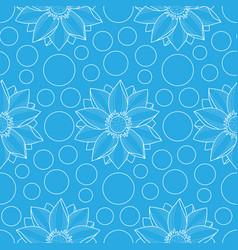 lotus and circles blue seamless pattern vector image