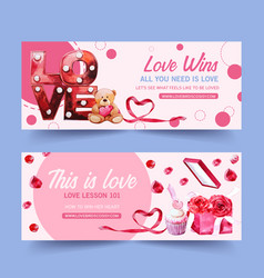 Love banner design with ribbon light leaf vector