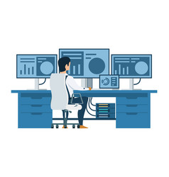 male engineer working on multi display computer vector image