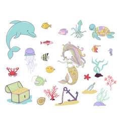 mermaid sea animals and water plants vector image
