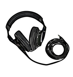Monitor headphones with wire vector