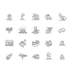 natural disaster icons thin line vector image