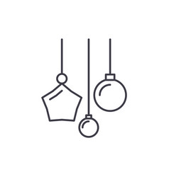 new year decoration line icon concept new year vector image