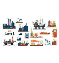 oil industry set extraction refinery vector image