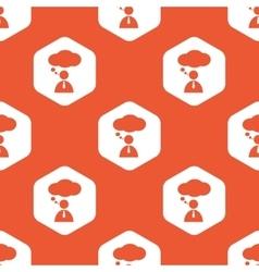 Orange hexagon thinking person pattern vector image