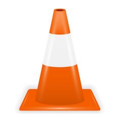 orange white traffic cone on white background vector image