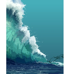 Painted backdrop of a giant tsunami wave vector