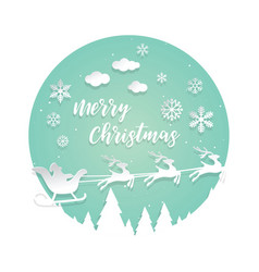 paper cut santa of merry christmas vector image