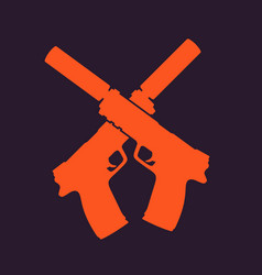 pistols silhouette handguns with silencers vector image