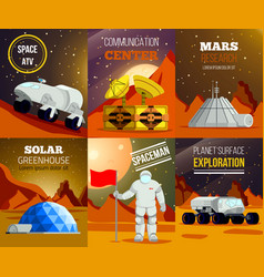 planet colonization flat cards vector image