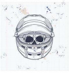 racer skull with helmet vector image